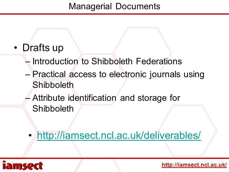 http://iamsect.ncl.ac.uk/ Managerial Documents Drafts up –Introduction to Shibboleth Federations –Practical access to electronic journals using Shibbo