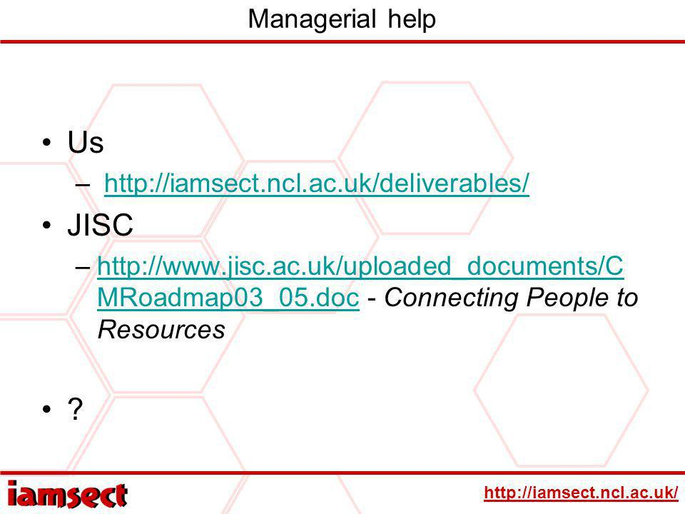 http://iamsect.ncl.ac.uk/ Managerial help Us – http://iamsect.ncl.ac.uk/deliverables/http://iamsect.ncl.ac.uk/deliverables/ JISC –http://www.jisc.ac.uk/uploaded_documents/C MRoadmap03_05.doc - Connecting People to Resourceshttp://www.jisc.ac.uk/uploaded_documents/C MRoadmap03_05.doc