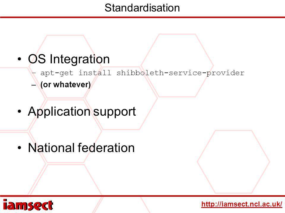 http://iamsect.ncl.ac.uk/ Standardisation OS Integration –apt-get install shibboleth-service-provider –(or whatever) Application support National fede
