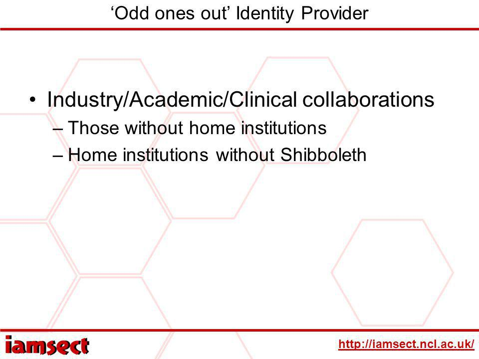 http://iamsect.ncl.ac.uk/ Odd ones out Identity Provider Industry/Academic/Clinical collaborations –Those without home institutions –Home institutions