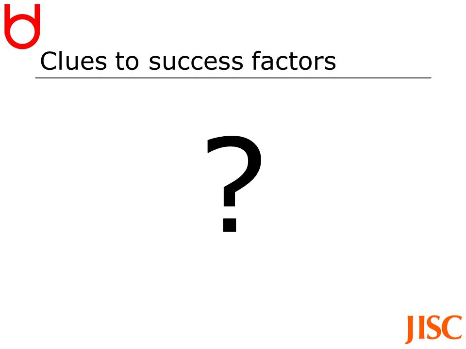 Clues to success factors ?
