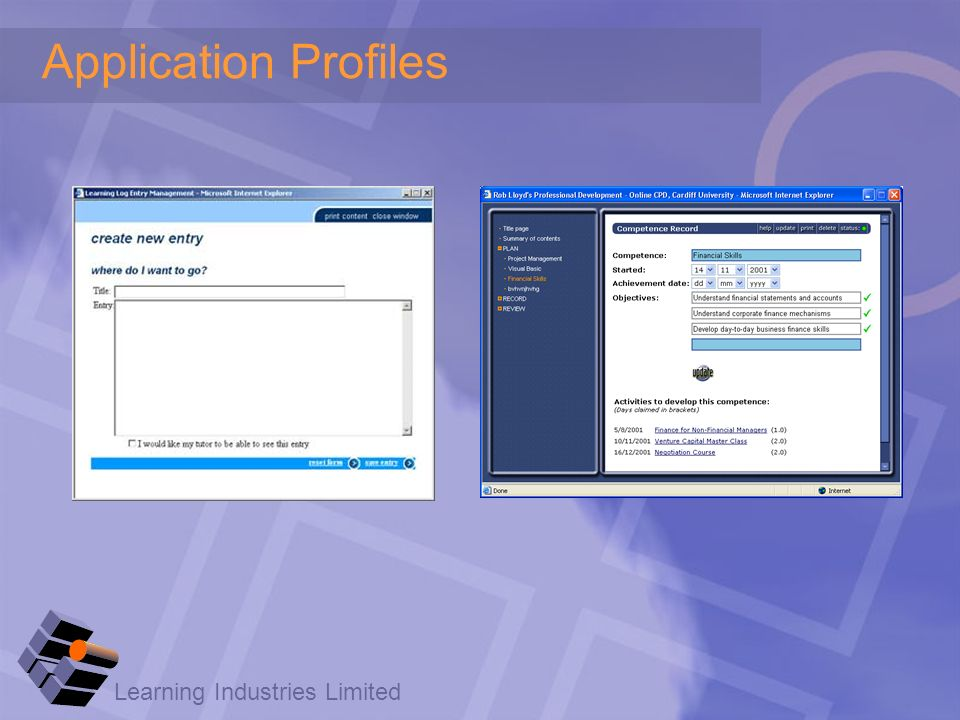 Learning Industries Limited Application Profiles