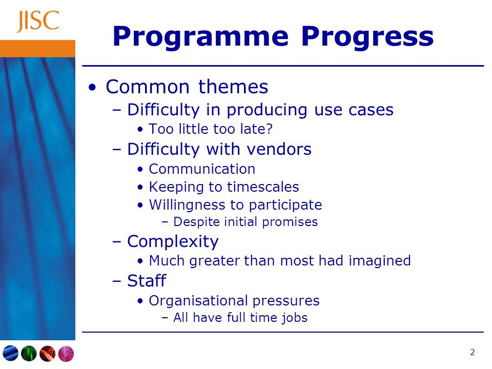 2 Programme Progress Common themes –Difficulty in producing use cases Too little too late.