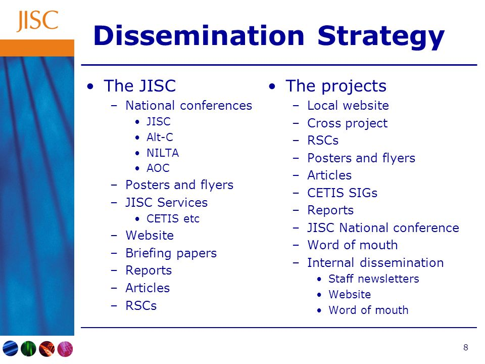 8 Dissemination Strategy The JISC –National conferences JISC Alt-C NILTA AOC –Posters and flyers –JISC Services CETIS etc –Website –Briefing papers –Reports –Articles –RSCs The projects –Local website –Cross project –RSCs –Posters and flyers –Articles –CETIS SIGs –Reports –JISC National conference –Word of mouth –Internal dissemination Staff newsletters Website Word of mouth