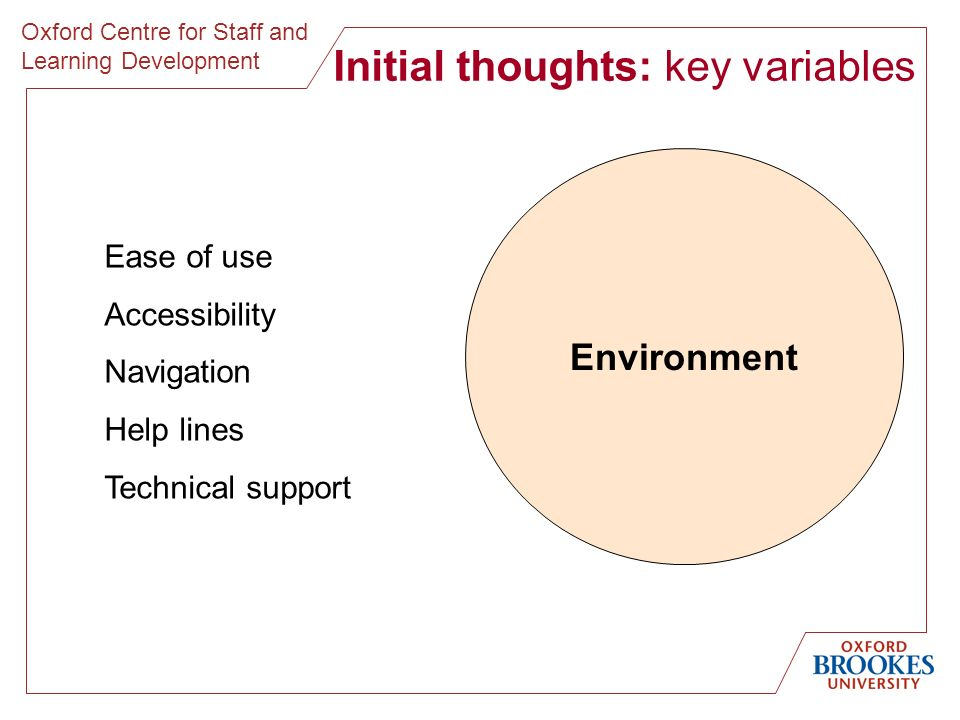 Oxford Centre for Staff and Learning Development Initial thoughts: key variables Environment Ease of use Accessibility Navigation Help lines Technical support
