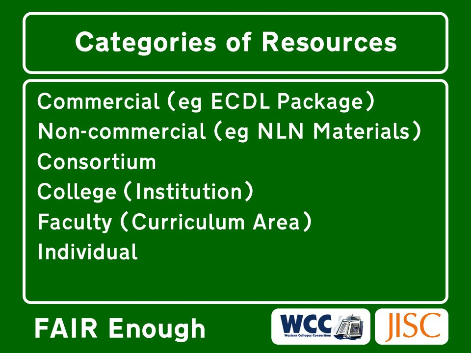 FAIR Enough Categories of Resources Commercial (eg ECDL Package) Non-commercial (eg NLN Materials) Consortium College (Institution) Faculty (Curriculu