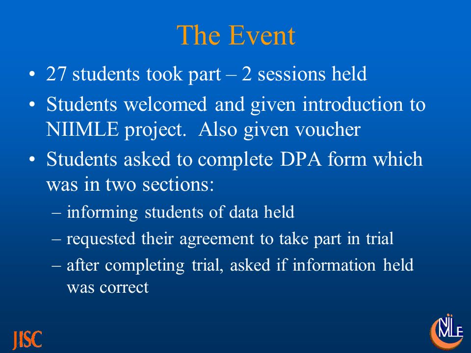 The Event 27 students took part – 2 sessions held Students welcomed and given introduction to NIIMLE project.