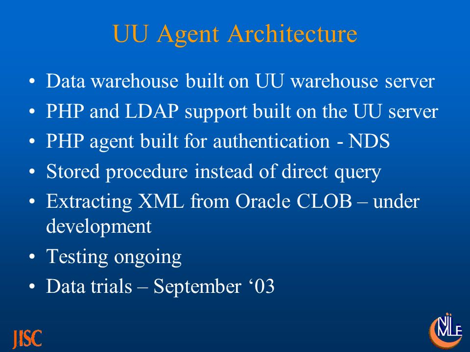 UU Agent Architecture Data warehouse built on UU warehouse server PHP and LDAP support built on the UU server PHP agent built for authentication - NDS Stored procedure instead of direct query Extracting XML from Oracle CLOB – under development Testing ongoing Data trials – September 03