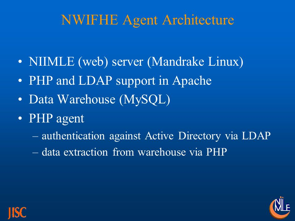 BIFHE Agent Architecture NIIMLE server configured & built – still to be installed on BIFHE network PHP and LDAP support built on NIIMLE server PHP agent built for authentication installed on NIIMLE sever – authenticating against NDS Data warehouse to be built on NIIMLE server Agent to be tested for both authentication and data extraction Data trials – September 03