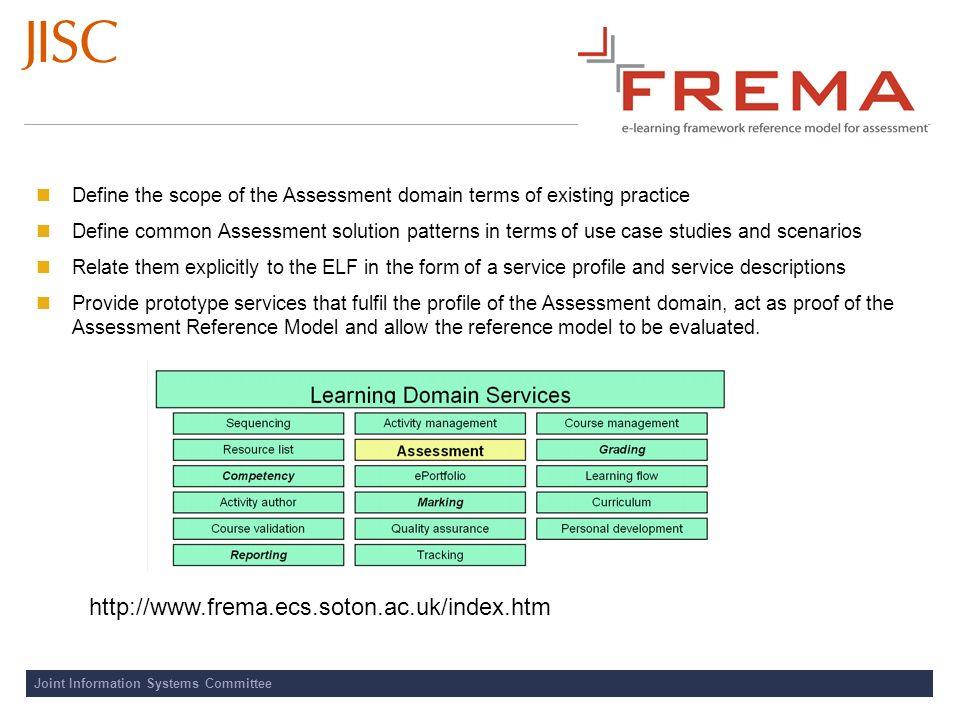 Joint Information Systems Committee Define the scope of the Assessment domain terms of existing practice Define common Assessment solution patterns in