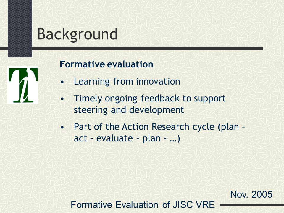 Formative Evaluation of JISC VRE Nov.