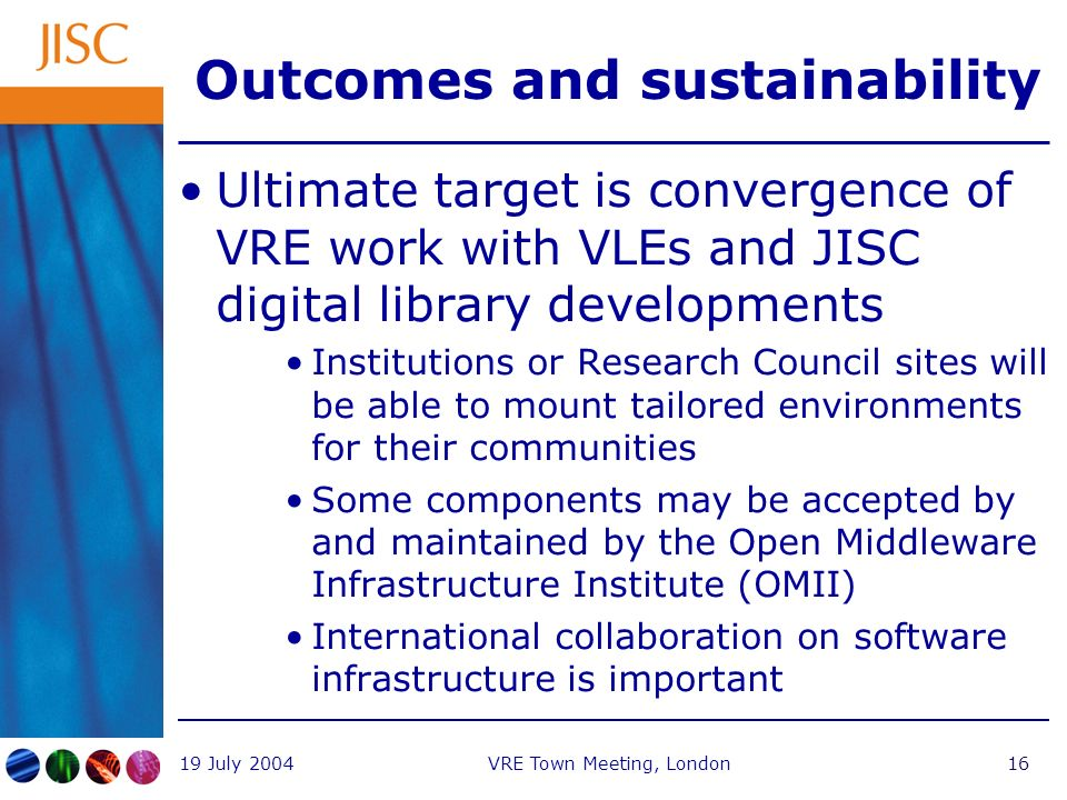 19 July 2004VRE Town Meeting, London16 Outcomes and sustainability Ultimate target is convergence of VRE work with VLEs and JISC digital library developments Institutions or Research Council sites will be able to mount tailored environments for their communities Some components may be accepted by and maintained by the Open Middleware Infrastructure Institute (OMII) International collaboration on software infrastructure is important