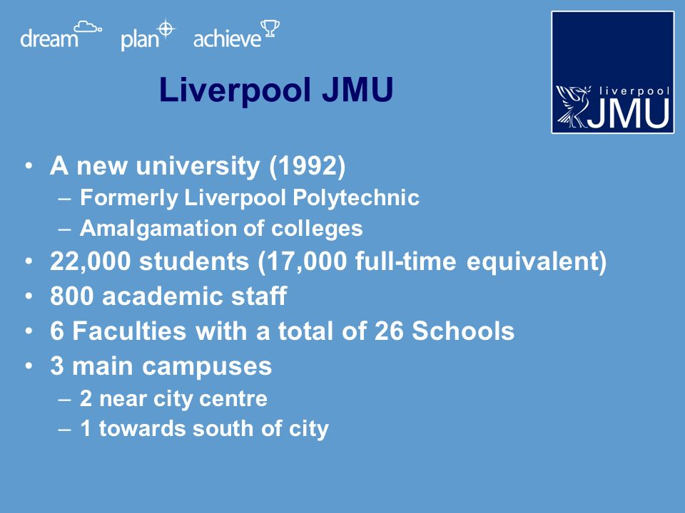Liverpool JMU A new university (1992) –Formerly Liverpool Polytechnic –Amalgamation of colleges 22,000 students (17,000 full-time equivalent) 800 academic staff 6 Faculties with a total of 26 Schools 3 main campuses –2 near city centre –1 towards south of city