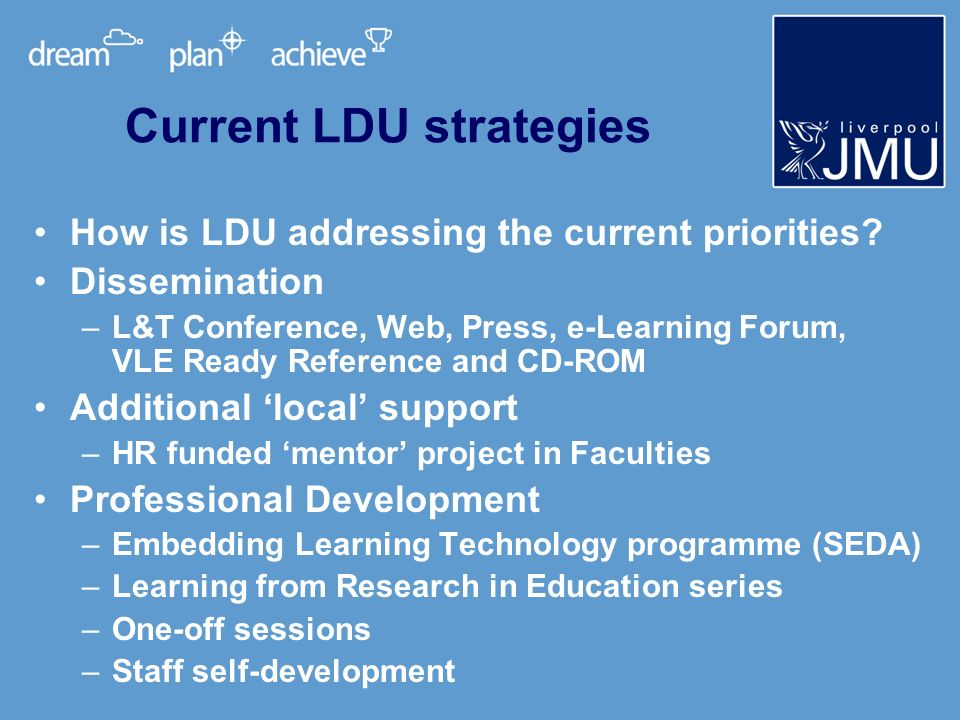 How the Effective Practice guide will be used As an additional support resource for professional development activities For general dissemination and awareness-raising via LJMU L&T website As a general resources for staff self- development