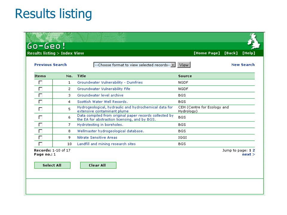 Results listing