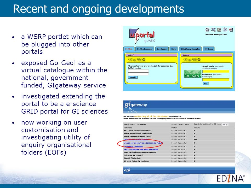 Recent and ongoing developments a WSRP portlet which can be plugged into other portals exposed Go-Geo.