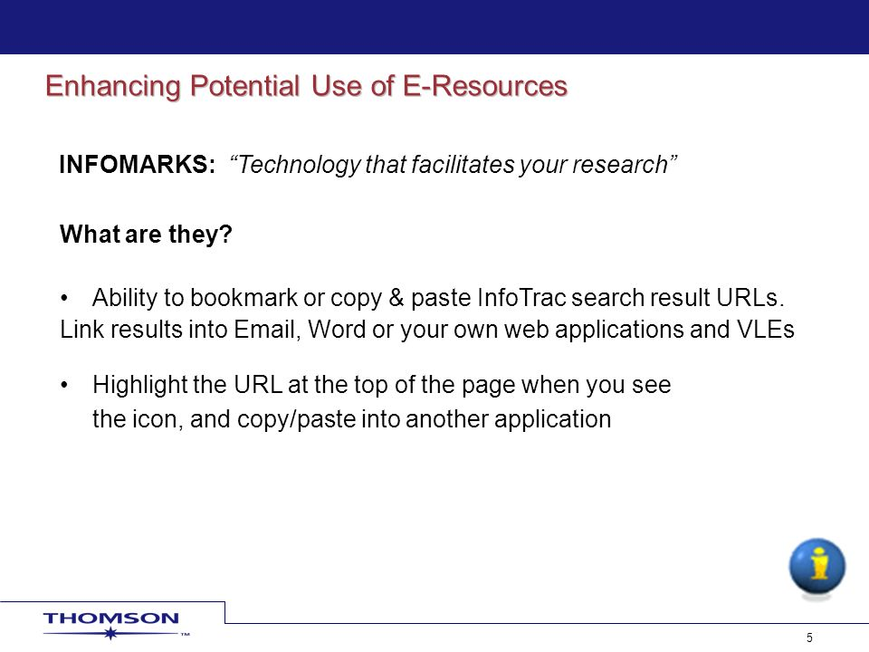 6 Articles: Link to specific articles Marked Lists: Instant course materials Lists of search results: Search is executed afresh each time Displays ALL results Expand or narrow search Journal titles: Link to specific journals Reading rooms OPAC VLE Link to…
