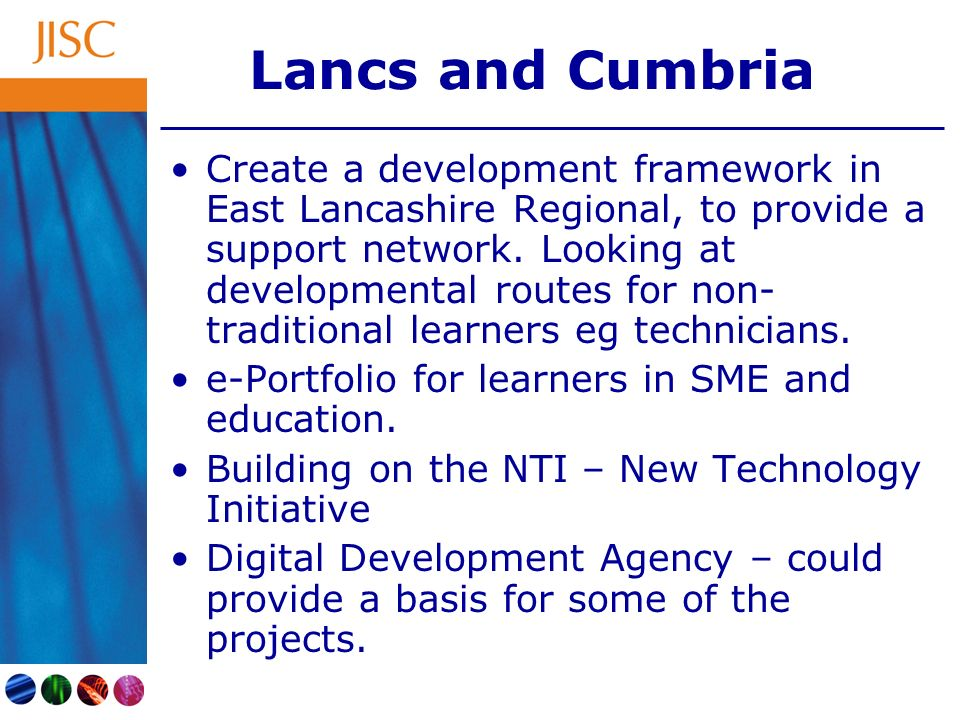 Lancs and Cumbria Create a development framework in East Lancashire Regional, to provide a support network. Looking at developmental routes for non- t