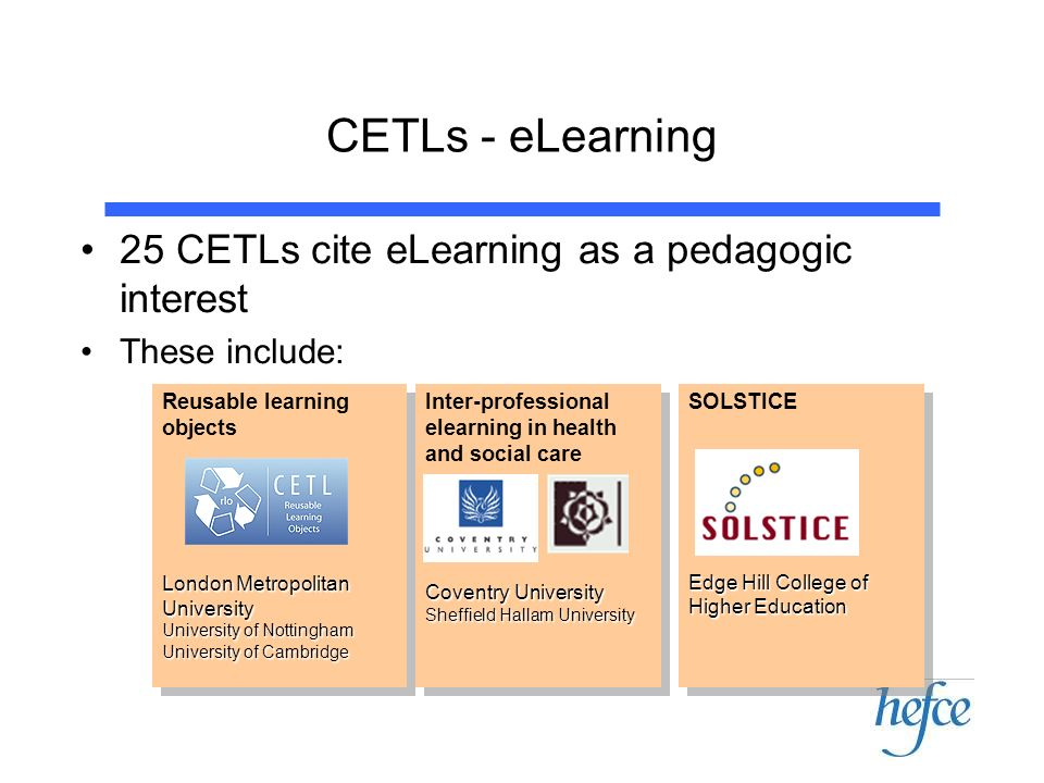 CETLs - eLearning 25 CETLs cite eLearning as a pedagogic interest These include: Reusable learning objects London Metropolitan University University o