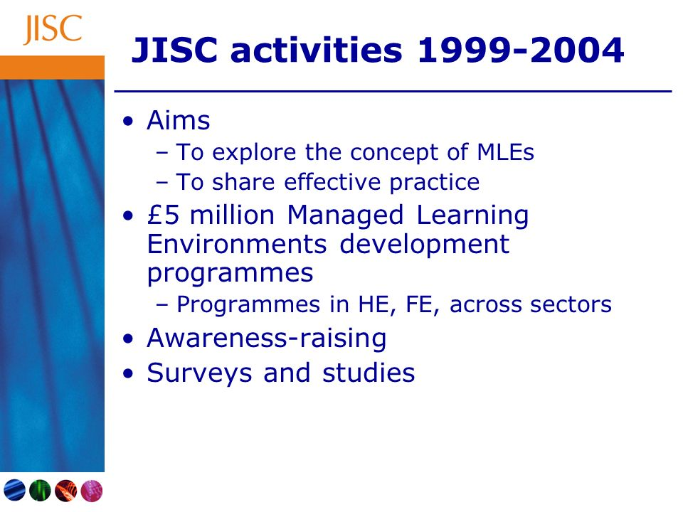 JISC activities 1999-2004 Aims –To explore the concept of MLEs –To share effective practice £5 million Managed Learning Environments development programmes –Programmes in HE, FE, across sectors Awareness-raising Surveys and studies