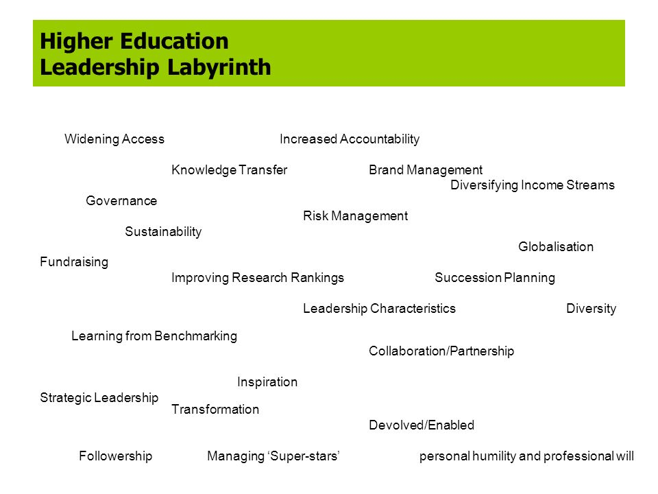 Higher Education Leadership Labyrinth Widening Access Increased Accountability Knowledge TransferBrand Management Diversifying Income Streams Governan