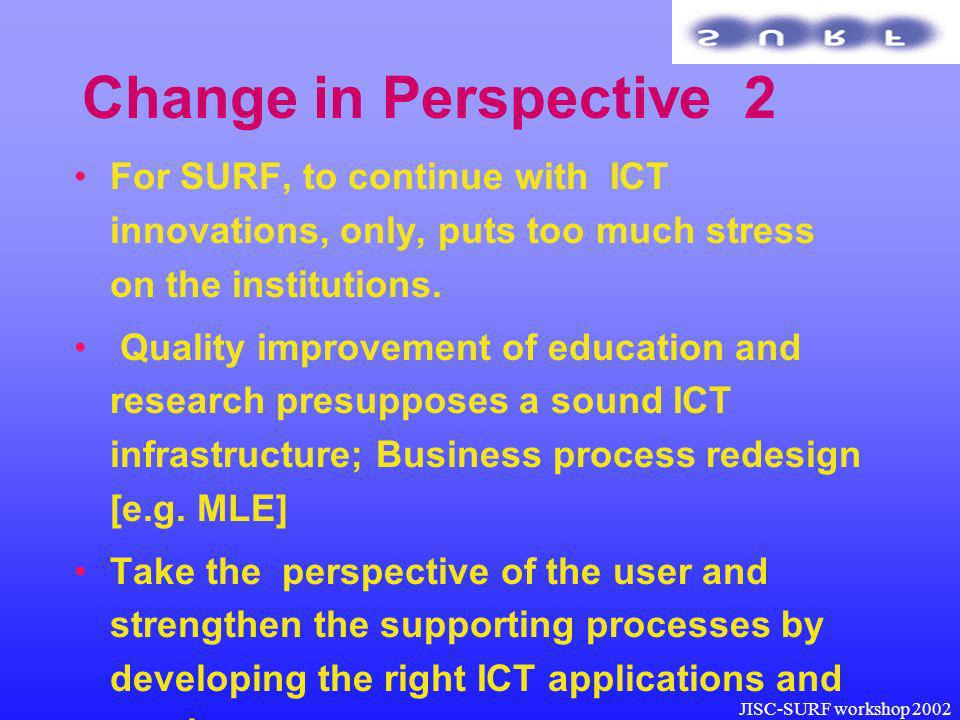 JISC-SURF workshop 2002 Change in Perspective 2 For SURF, to continue with ICT innovations, only, puts too much stress on the institutions.
