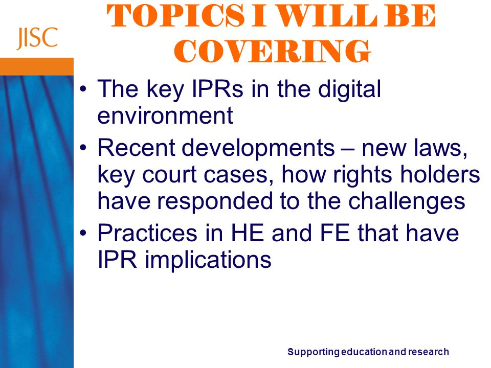 Supporting education and research IPRS OF RELEVANCE Copyright N.B.