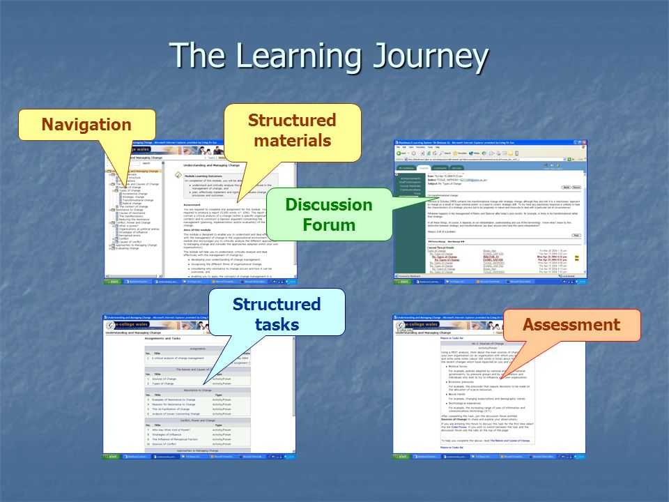 The Learning Journey Structured materials Navigation Structured tasks Discussion Forum Assessment
