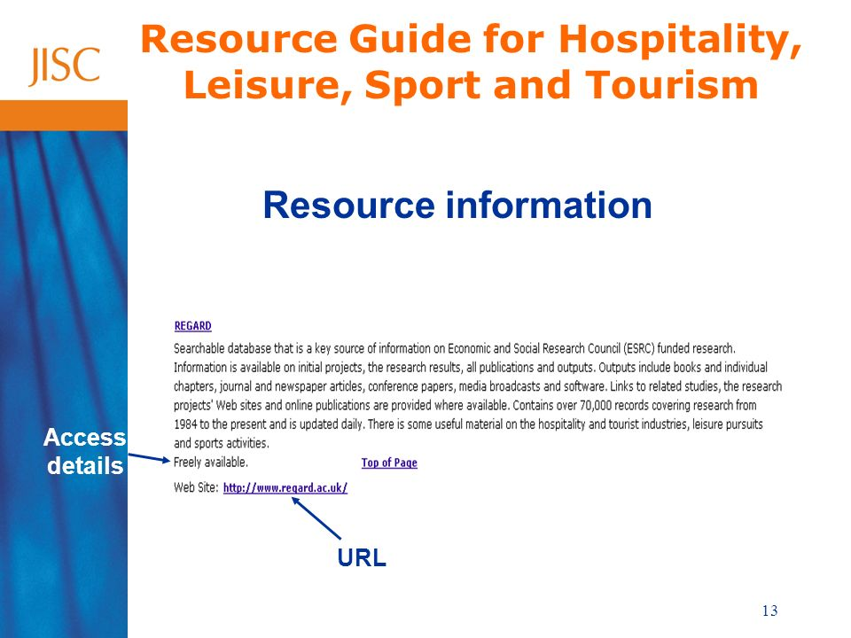 13 Resource Guide for Hospitality, Leisure, Sport and Tourism Resource information Access details URL