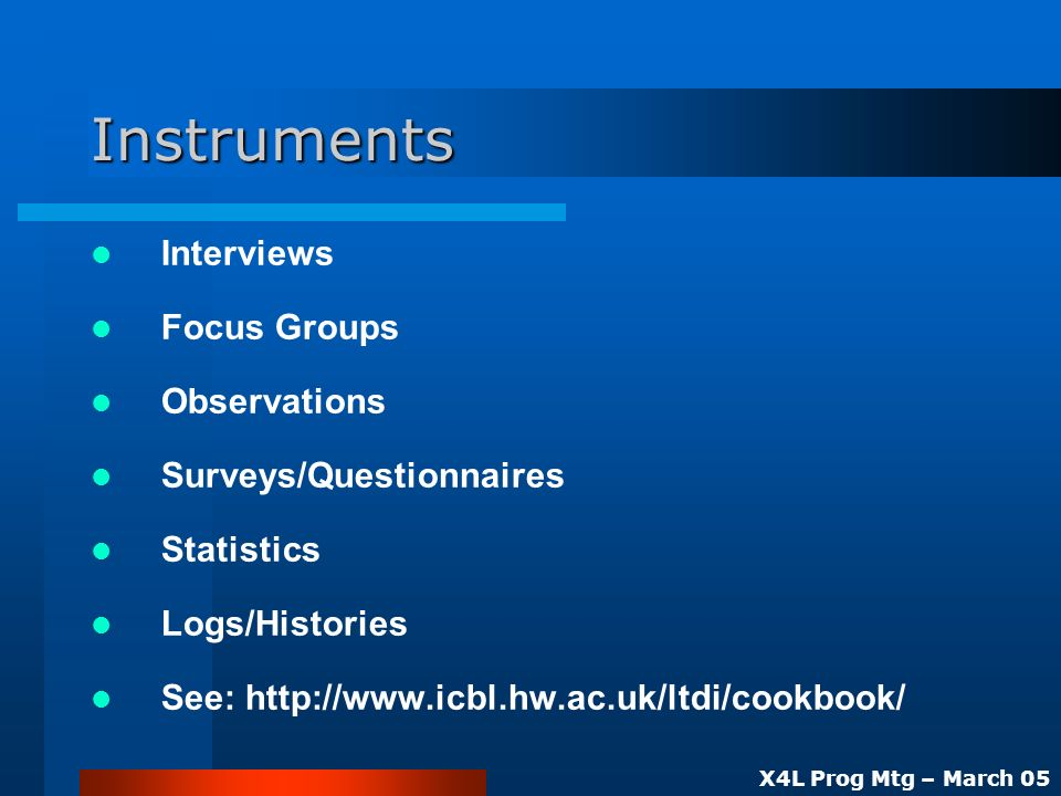 X4L Prog Mtg – March 05 Instruments Interviews Focus Groups Observations Surveys/Questionnaires Statistics Logs/Histories See: http://www.icbl.hw.ac.uk/ltdi/cookbook/