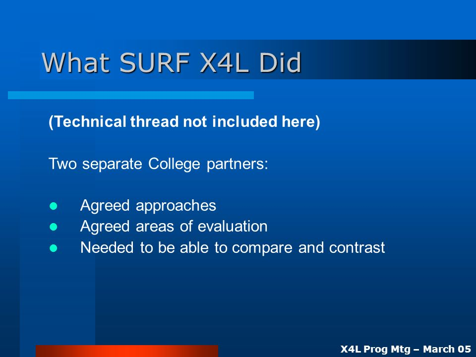 X4L Prog Mtg – March 05 What SURF X4L Did (Technical thread not included here) Two separate College partners: Agreed approaches Agreed areas of evaluation Needed to be able to compare and contrast