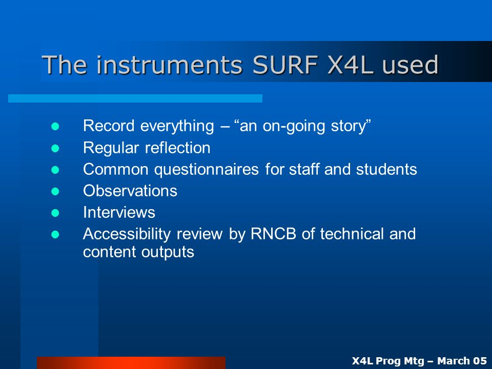 X4L Prog Mtg – March 05 The instruments SURF X4L used Record everything – an on-going story Regular reflection Common questionnaires for staff and students Observations Interviews Accessibility review by RNCB of technical and content outputs