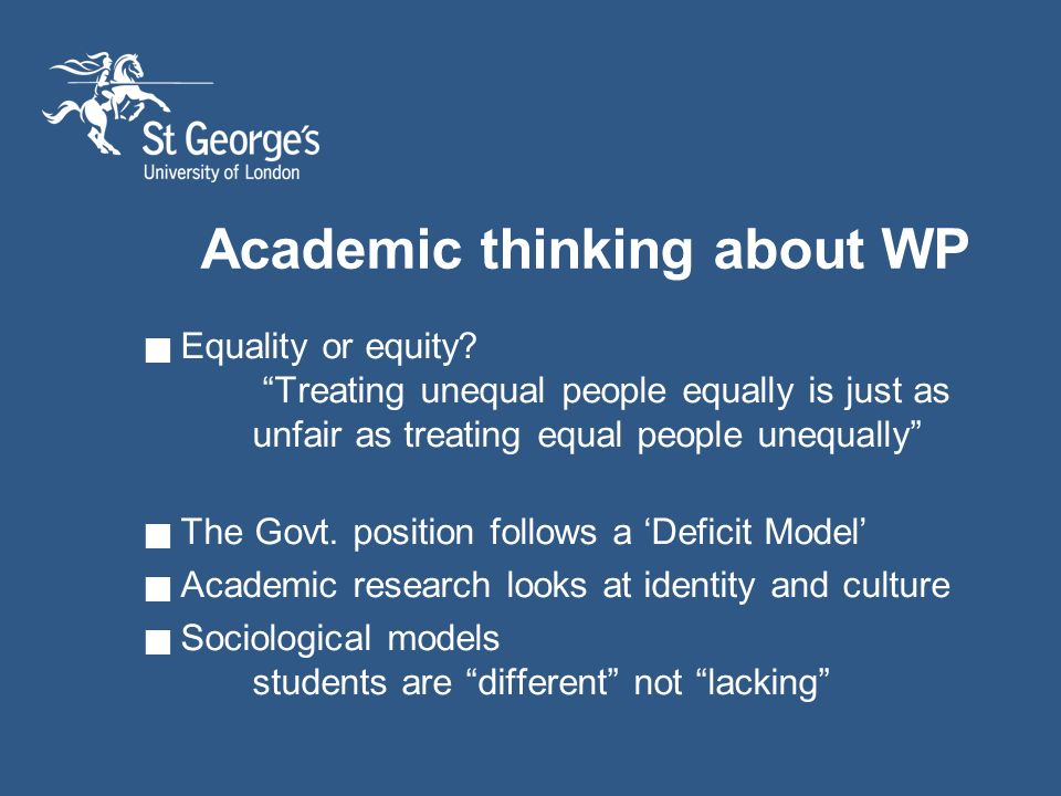Academic thinking about WP Equality or equity.