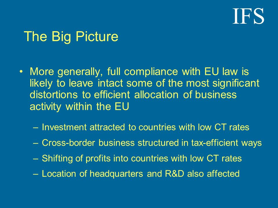 IFS The Big Picture More generally, full compliance with EU law is likely to leave intact some of the most significant distortions to efficient alloca