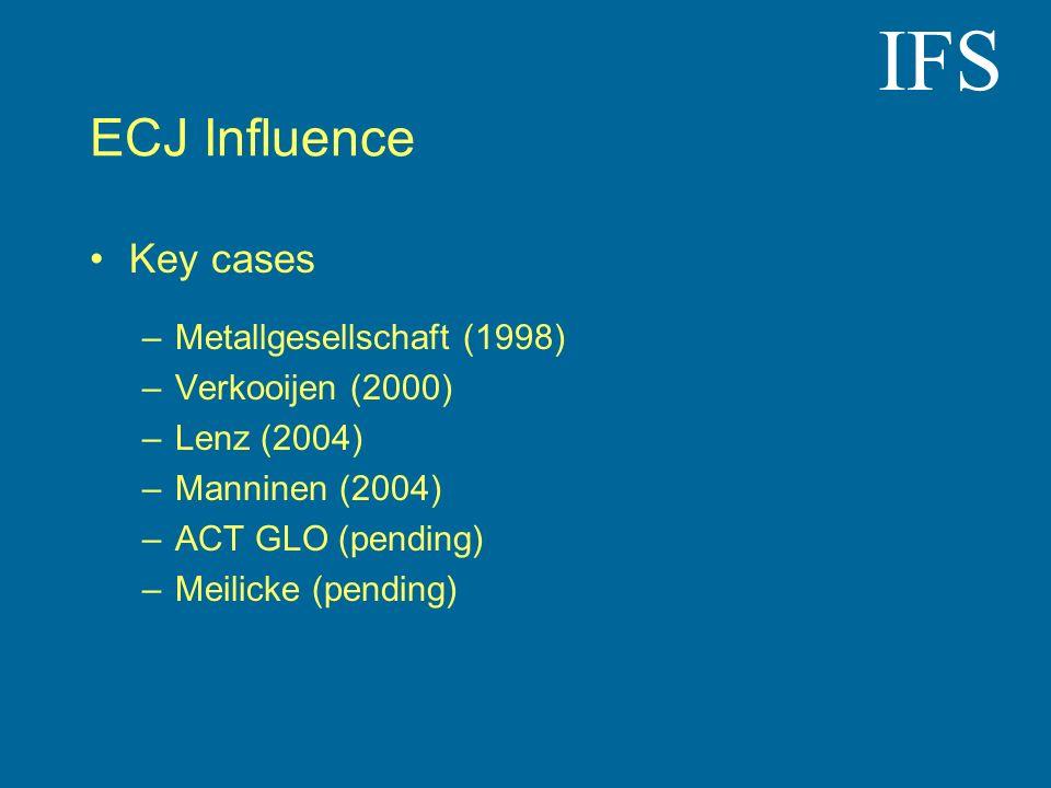IFS ECJ Influence Key cases –Metallgesellschaft (1998) –Verkooijen (2000) –Lenz (2004) –Manninen (2004) –ACT GLO (pending) –Meilicke (pending)