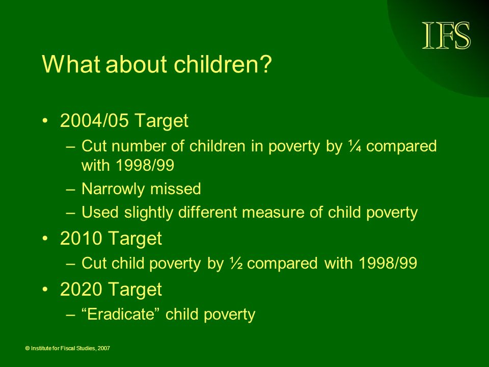 © Institute for Fiscal Studies, 2007 What about children? 2004/05 Target –Cut number of children in poverty by ¼ compared with 1998/99 –Narrowly misse