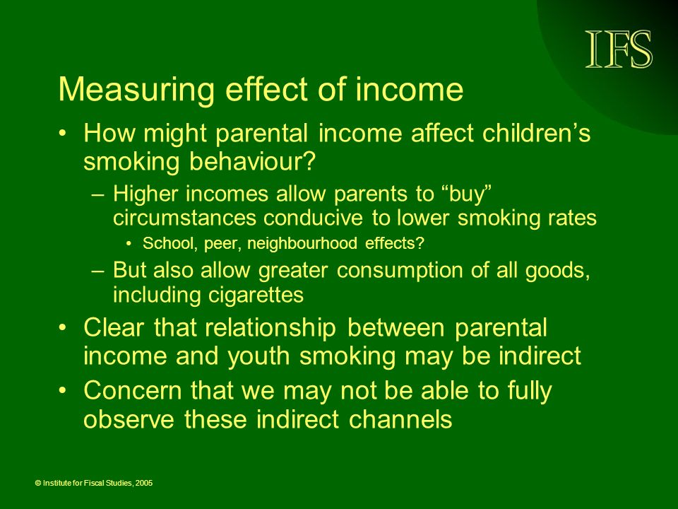 © Institute for Fiscal Studies, 2005 Measuring effect of income How might parental income affect childrens smoking behaviour.