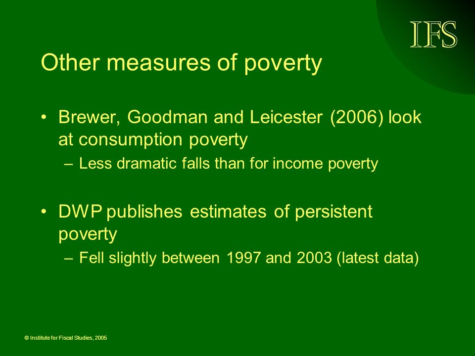 © Institute for Fiscal Studies, 2005 Other measures of poverty Brewer, Goodman and Leicester (2006) look at consumption poverty –Less dramatic falls than for income poverty DWP publishes estimates of persistent poverty –Fell slightly between 1997 and 2003 (latest data)