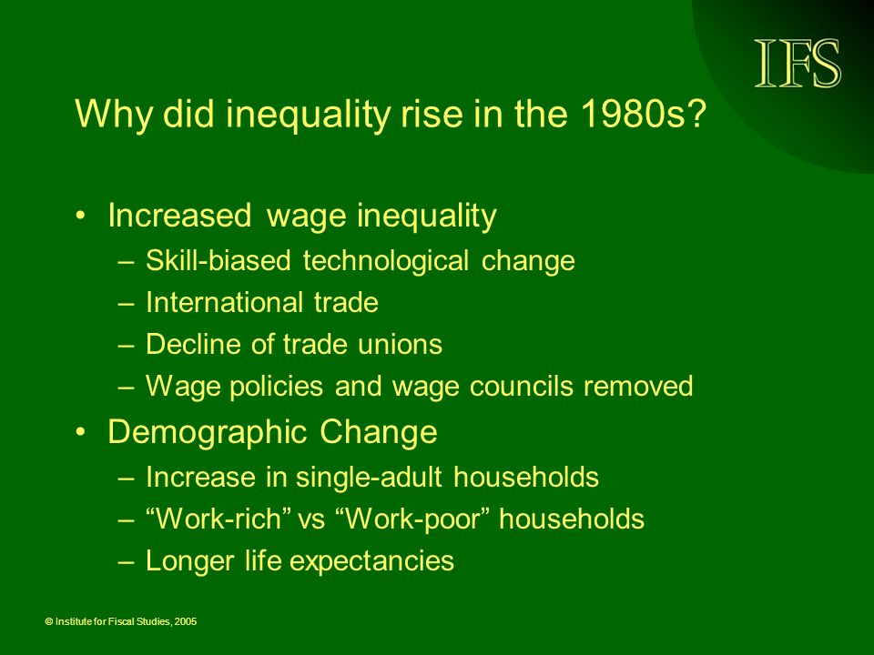 © Institute for Fiscal Studies, 2005 Why did inequality rise in the 1980s.