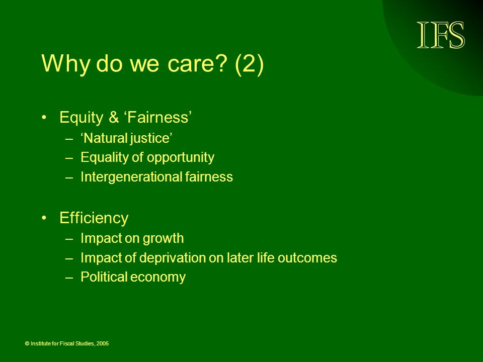 © Institute for Fiscal Studies, 2005 Why do we care? (2) Equity & Fairness –Natural justice –Equality of opportunity –Intergenerational fairness Effic