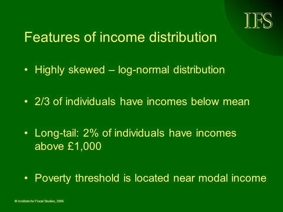 © Institute for Fiscal Studies, 2005 Features of income distribution Highly skewed – log-normal distribution 2/3 of individuals have incomes below mea