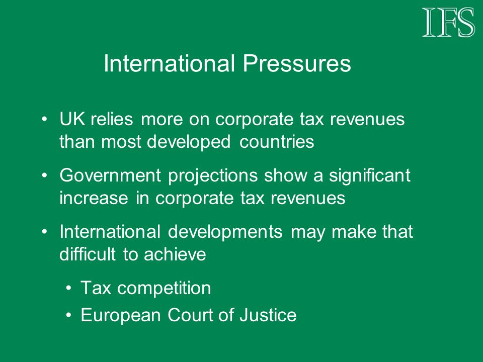 Tax Avoidance Initiatives Tension between demands that companies pay their fair share of taxation, and aim for a globally competitive tax system Barrage of targeted anti-avoidance measures may contribute to former objective, but risks undermining the latter Extension of this approach can nevertheless be expected in the 2006 Budget