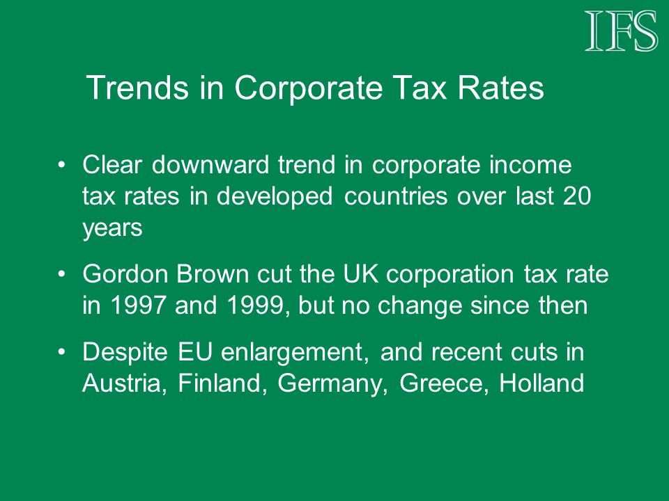 Trends in Corporate Tax Rates Clear downward trend in corporate income tax rates in developed countries over last 20 years Gordon Brown cut the UK corporation tax rate in 1997 and 1999, but no change since then Despite EU enlargement, and recent cuts in Austria, Finland, Germany, Greece, Holland