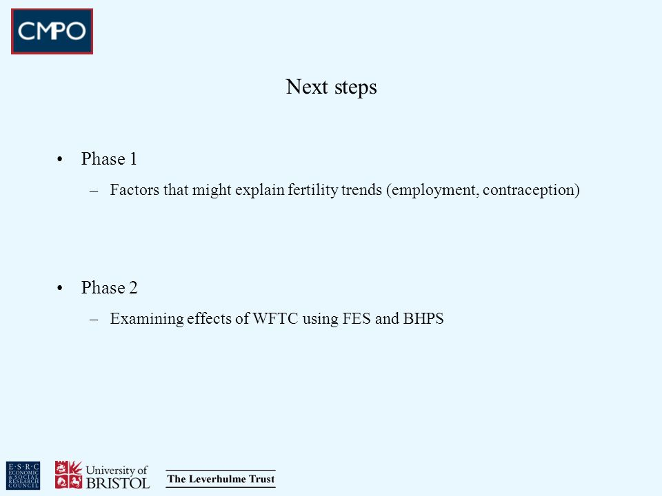 Next steps Phase 1 –Factors that might explain fertility trends (employment, contraception) Phase 2 –Examining effects of WFTC using FES and BHPS