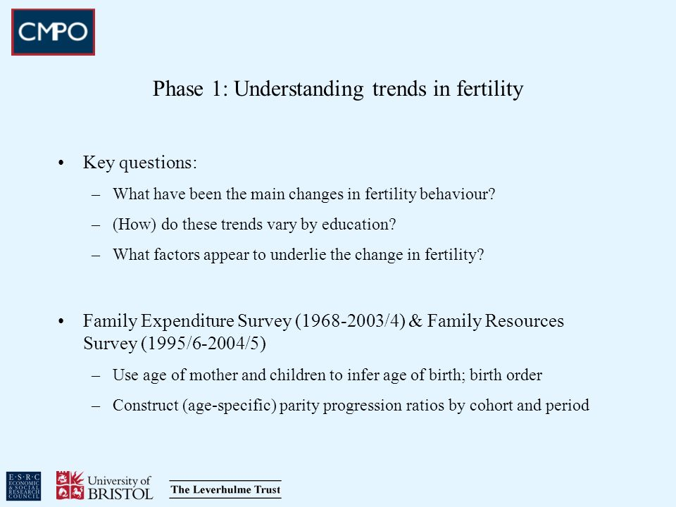 Phase 1: Understanding trends in fertility Key questions: –What have been the main changes in fertility behaviour? –(How) do these trends vary by educ