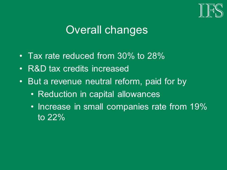 Tax rate reduced from 30% to 28% R&D tax credits increased But a revenue neutral reform, paid for by Reduction in capital allowances Increase in small