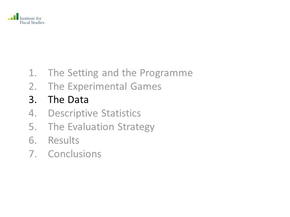 1.The Setting and the Programme 2.The Experimental Games 3.The Data 4.Descriptive Statistics 5.The Evaluation Strategy 6.Results 7.Conclusions