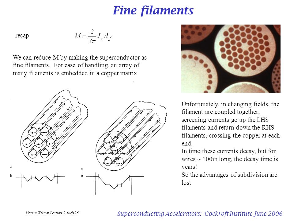 Martin Wilson Lecture 2 slide26 Superconducting Accelerators: Cockroft Institute June 2006 Fine filaments recap We can reduce M by making the supercon