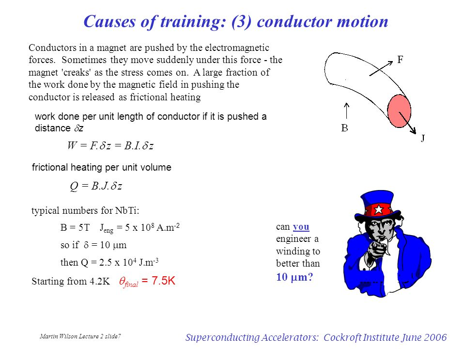 Martin Wilson Lecture 2 slide7 Superconducting Accelerators: Cockroft Institute June 2006 Causes of training: (3) conductor motion Conductors in a mag