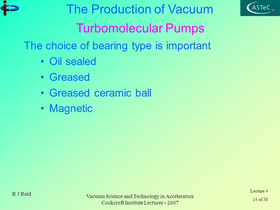 Lecture 4 14 of 38 The Production of Vacuum R J Reid Vacuum Science and Technology in Accelerators Cockcroft Institute Lectures - 2007 The choice of b